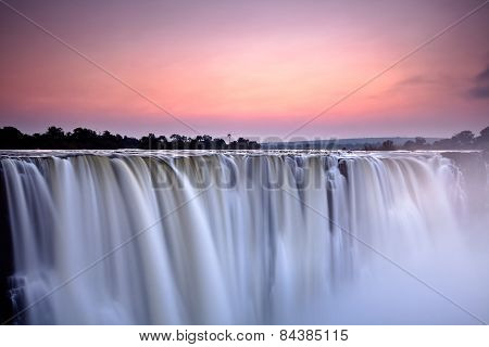 Victoria falls at dusk from Zimbabwe