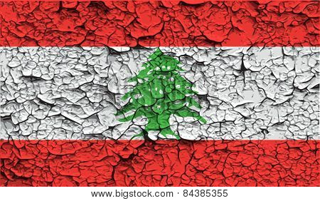 Flag Of Lebanon With Old Texture. Vector