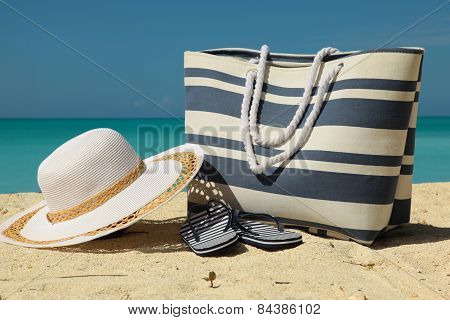 White Hat And Beach Bag