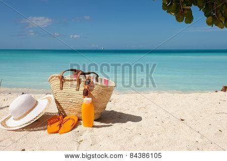 Beach Gear On Whita Sand