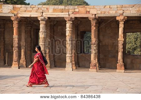 Delhi, India - November 4: Unidentified Woman Walks In Quwwat-ul-islam Mosque Courtyard At Qutub Min