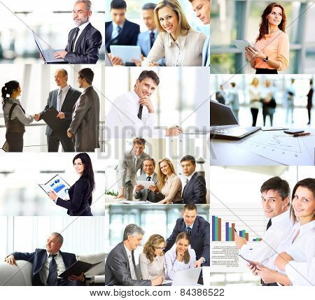 Business people in various situations connected