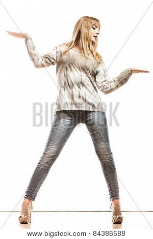 Woman Casual Style Showing Empty Hand