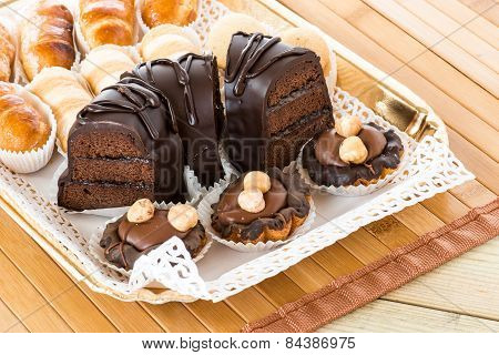 mixed chocolate cakes and pastries