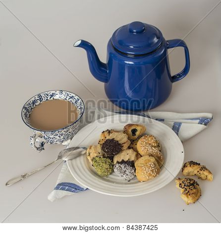 Selection of cookies with tea