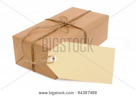 Thin Brown Paper Package With Oversize Tag