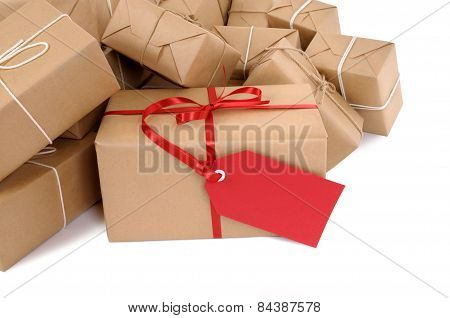 Group Of Parcels, Red Gift Tag