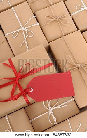 Parcels With Red Gift Tag