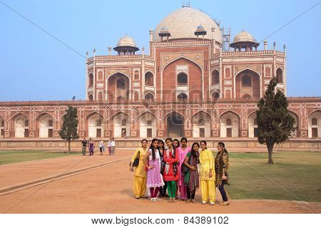 Delhi, India - November 4: Unidentified Girls Stand Near Humayun's Tomb On November 4, 2014 In Delhi