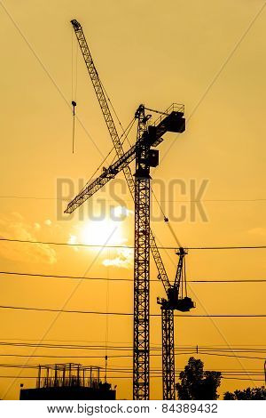 Silhouette Of Construction Site on sunset.