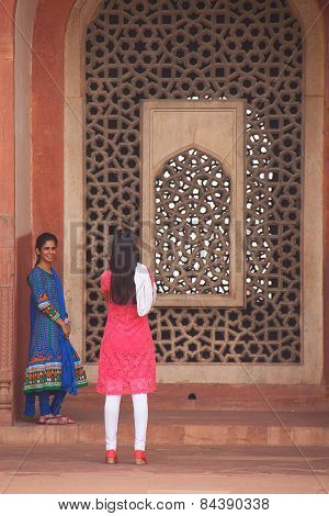 Delhi, India - November 4: Unidentified Women Take Photos At Humayun's Tomb On November 4, 2014 In D