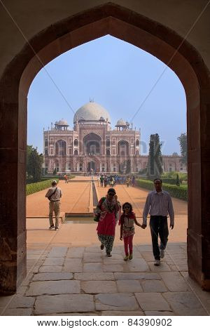 Delhi, India - November 4: Unidentified People Walk At Humayun's Tomb Complex On November 4, 2014 In