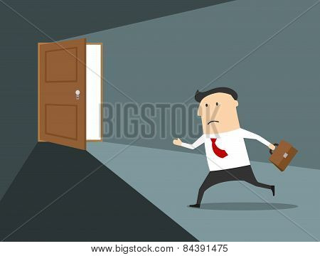 Businessman running to the exit