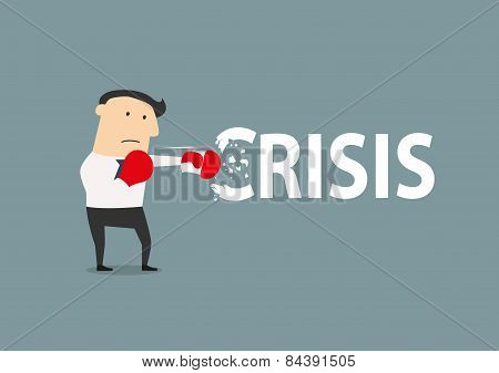 Businessman breaks the crisis