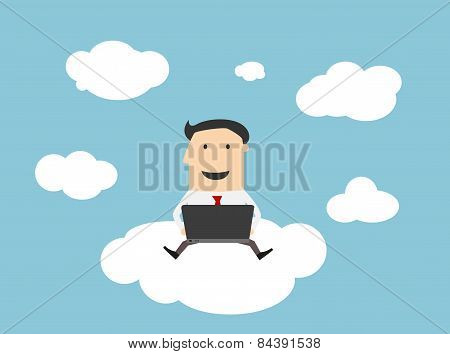 Businessman sitting on a cloud with notebook