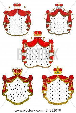 Heraldic red royal mantles set