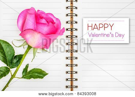 Pink Rose And Diary, Happy Valentines Day