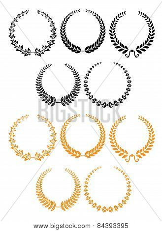 Black and orange heraldic laurel wreaths