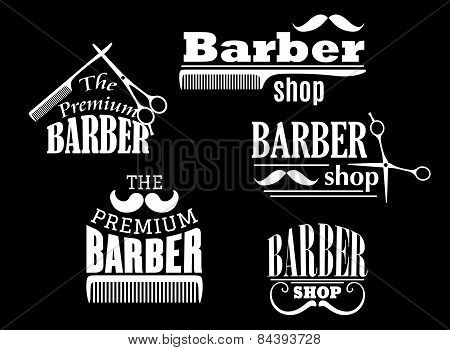 Banners, signs and pointers for barber shop
