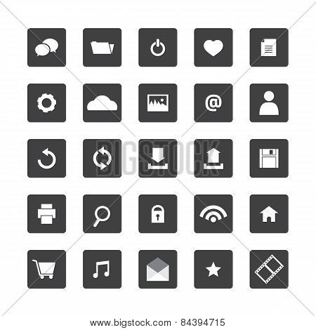 Black And White Website Icons Set.