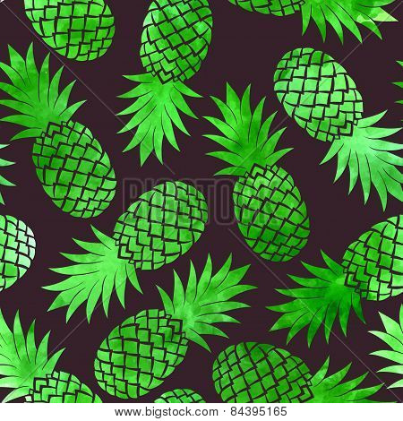 Vintage pineapple seamless pattern
