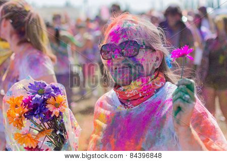Unknown Woman Celebrating With Flowers