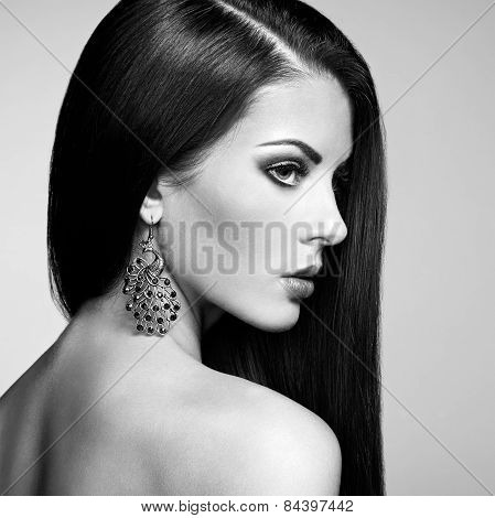 Portrait Of Beautiful Brunette Woman With Earring