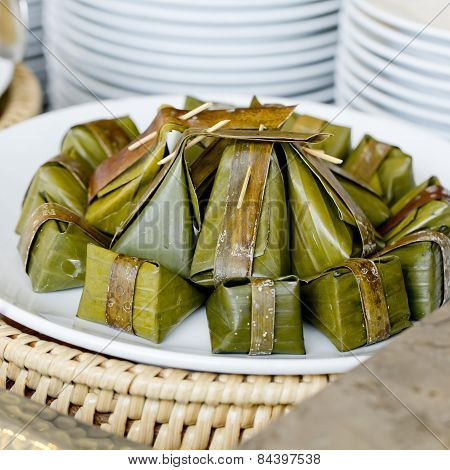 Thai Style Dessert, Khanom Sod-sai (steamed Flour With Coconut Filling). - Finger Food