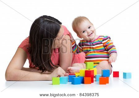 mother and baby playing and having fun