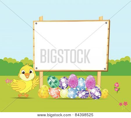 Happy Easter card with eggs and chick
