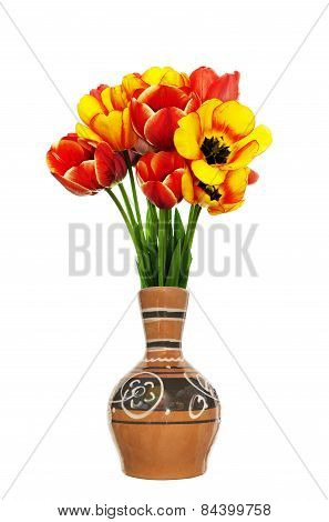 Beautiful  Fresh Red Tulips In Vintage Decorative Vase