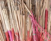 stock photo of altar  - pile of burning incense on the altar points out - JPG