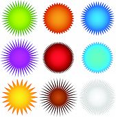stock photo of flashing  - Colorful starburst flash badge set - JPG