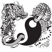 picture of yang  - yin yang symbol with dragon and tiger fighting - JPG