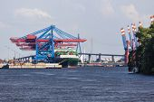 pic of tall ship  - Container harbor with tall cranes in Hamburg Harbor Germany