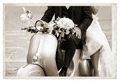 pic of scooter  - Vintage photo with Young newlywed just married posing on an old gray scooter - JPG