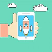 pic of spaceships  - Modern vector illustration concept for new business project startup new product or service - JPG