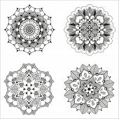 foto of indian culture  - Set of four Indian floral mandala for mehndy or design - JPG