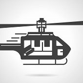 picture of rescue helicopter  - Flat black silhouette vector icon for urgency helicopter on white background - JPG