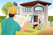 picture of real-estate-team  - A vector illustration of architect working at the construction site - JPG