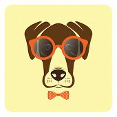 stock photo of thug  - Vector image of dog wearing glasses - JPG