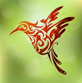 pic of hummingbirds  - Vector illustration for flying hummingbird abstract shape - JPG