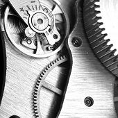 pic of clos  - very close up view on watch gears - JPG