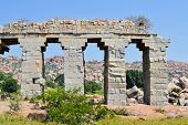 stock photo of ancient civilization  - Ancient aqueduct of Vijayanagara Hindu civilization in Hampi - JPG
