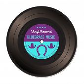 stock photo of bluegrass  - Isolated vinyl record with the text bluegrass music written on the record - JPG