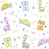 stock photo of cute tiger  - Cute childish seamless pattern with tiger - JPG