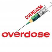 stock photo of overdose  - Abstract colorful illustration with syringe injecting a green liquid into the overdose word - JPG