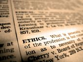 image of pronunciation  - Definition of ethics in dictionary book on pages with type - JPG