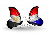 pic of holland flag  - Two butterflies with flags on wings as symbol of relations Egypt and Holland - JPG