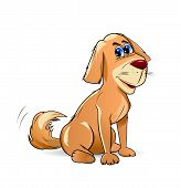 foto of pooch  - Cartoon pooch brown color on a white background - JPG